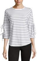 Liz Claiborne 3/4 Tie Sleeve Crew Neck Stripe T-Shirt-Womens