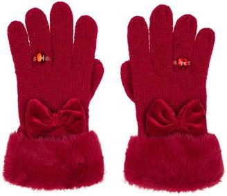 Monsoon Girls Bow Diamond Ring Glove - Red