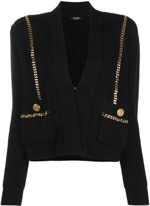 Balmain Concealed Chain-Trimmed Cardigan