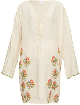 Loewe Floral-embroidered Tie-neck Linen Tunic Dress - Cream Multi