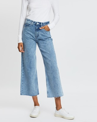Assembly Label - Women's Blue Crop - High Waist Flare Jeans - Size 6 at The Iconic