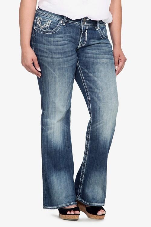 Vigoss Embroidered Lurex & Leather Bootleg Jeans