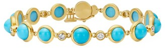 Temple St. Clair CL 18K Yellow Gold, Turquoise & Diamond Full Moon Bracelet