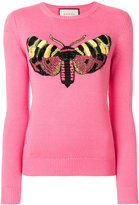 Gucci moth embroidered sweater