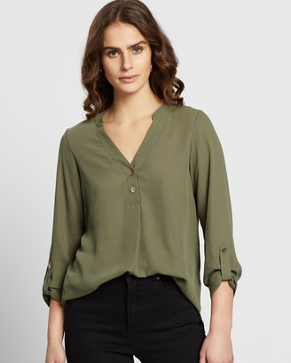 Dorothy Perkins Two-Button Roll Sleeve Blouse