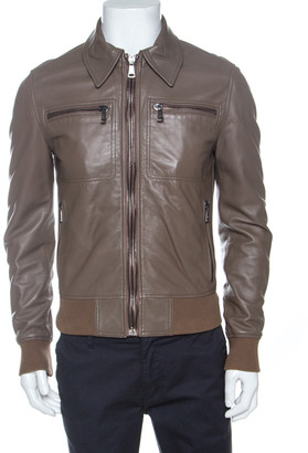 Dolce & Gabbana Brown Leather Zip Front Bomber Jacket M