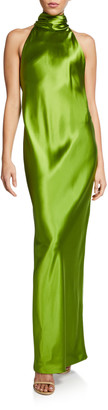 Brandon Maxwell Backless Silk Halter Gown