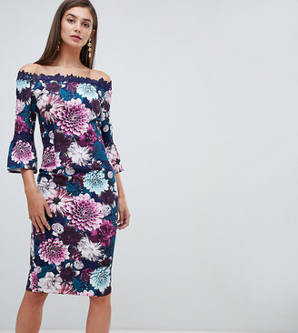 Paper Dolls Tall off shoulder floral printed pencil dress with lace trim in multi