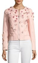Elie Tahari Glenna Leather Moto Jacket w/ Floral Appliqué