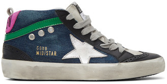 Golden Goose Blue Denim Mid Star Sneakers