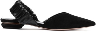 Nicholas Kirkwood Leather-trimmed Suede Point-toe Flats