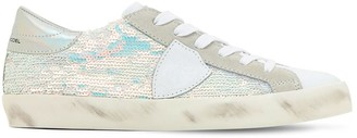 Philippe Model Paris Sequined Leather Lace-Up Sneakers