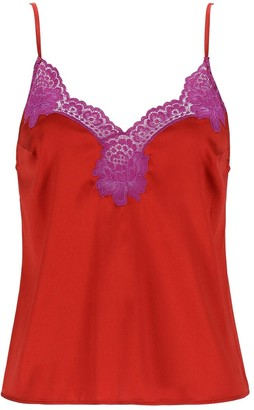 Fleur Du Mal James Silk Camisole W/ Lace Trim