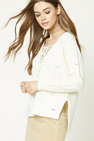 Forever 21 FOREVER 21+ Lace-Up Cable Knit Sweater