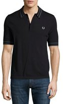Fred Perry Tramline Tipped Piqué Polo Shirt, Navy