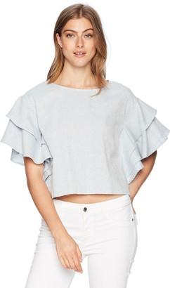 Moon River Women's Ruffle Sleeve Boxy Basic T-Shirt Top