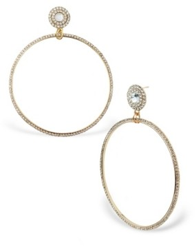 Statement Accessories Oversized Stone Front Facing Hoop Drops