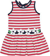 Florence Eiseman Stripe Knit Sleeveless Dress w/ Flower Detail, Size 2-6X