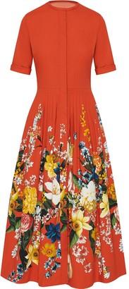 Oscar de la Renta Short Sleeve Bouquet Cocktail Dress