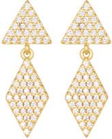 Freida Rothman 14K Gold Plated Sterling Silver Femme Geo Pave Double Drop Earrings