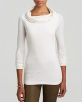 Three Dots Long Sleeve Draped Boatneck Tunic