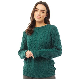 Board Angels Womens Cable Knit Sweater Dark Teal