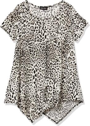 Star Vixen Women's Short Sleeve Classic Flattering Hanky Hem Smooth Knit Top