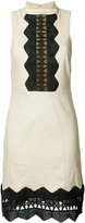 Nicole Miller geometric cut-out detail dress - women - Linen/Flax/Polyester/Spandex/Elastane/Viscose - 0