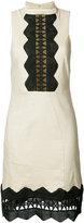 Nicole Miller geometric cut-out detail dress - women - Linen/Flax/Polyester/Spandex/Elastane/Viscose - 4