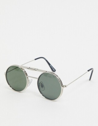 Spitfire Lennon round flip up glasses in silver with green lens