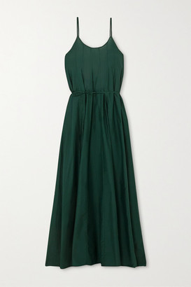 Maggie Marilyn Lose Your Fear Cotton And Silk-blend Maxi Dress - Forest green