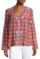 Tolani Alexa Long-Sleeve Printed Tunic w/ Embroidery