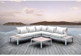 Solis Pulito 4-piece Outdoor Sectional White Aluminum with White Cushions and White Square Toss Pillows