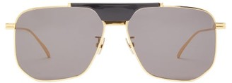Bottega Veneta Angular Aviator Metal Sunglasses - Womens - Grey Gold