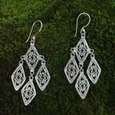 Sterling silver dangle earrings, 'Diamonds in Lace'
