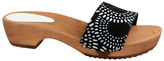 Sanita Black Wood Dine Leather Sandal - Women