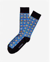 Express square and dot print dress socks