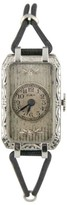 Elgin 105881 14K White Gold Hand-Winding Art Deco With Silk Band Vintage Womens Watch