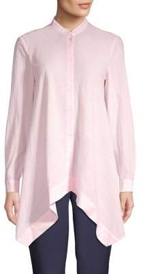 Anne Klein Mandarin-Collar Handkerchief Shirt