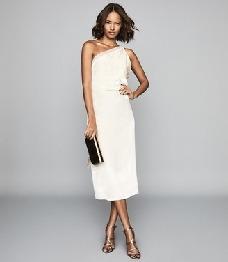 Reiss Eden Velvet - Velvet One Shoulder Dress in Ivory