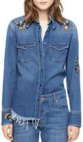 "Zadig & Voltaire Thelma Deluxe Embroidered ""Love Now"" Denim Shirt"