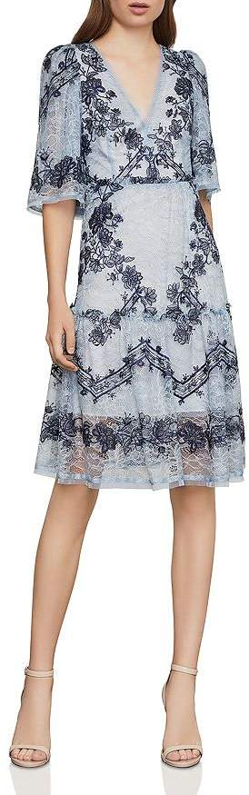 BCBGMAXAZRIA Floral-Embroidered Lace Dress