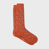 Paul Smith Men's Burnt Orange Paisley Wool-Cashmere Socks