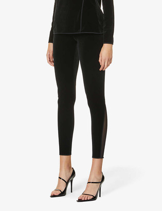 Wolford Blake mesh-panel high-rise stretch-jersey and velvet leggings