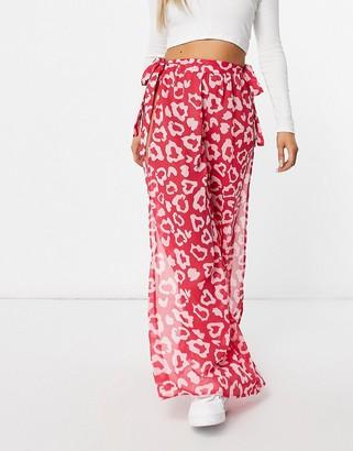 Candypants Leopard Print Side Split Chiffon pants in Pink