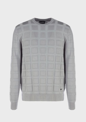 Emporio Armani Crew Neck Sweater With Ribbed Pattern