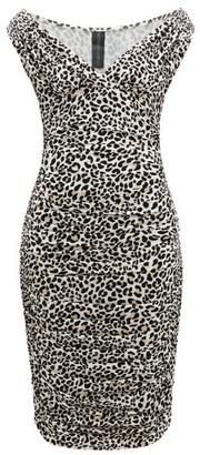 Norma Kamali Tara Leopard-print Ruched Midi Dress - Womens - Leopard
