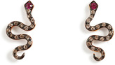 Ileana Makri Pink Gold/Brown Diamonds/Ruby Little Snake Studs