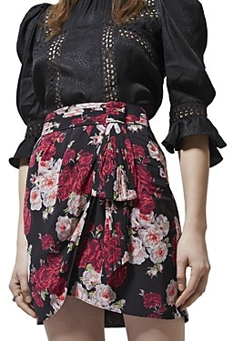 The Kooples Raspberry Shades Floral Print Skirt