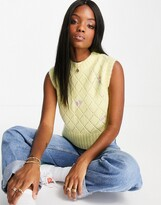 Thumbnail for your product : Neon Rose shrunken sweater vest in pastel floral knit